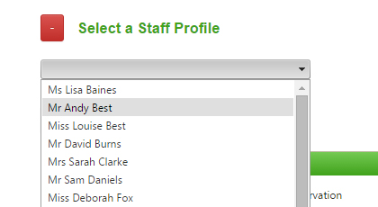 select a staff profile